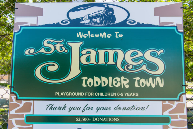 Welcome to St. James Toddler Town sign