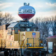 Train with St. James water tower in background