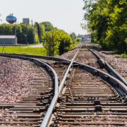 Train Tracks with St. James water tower in background